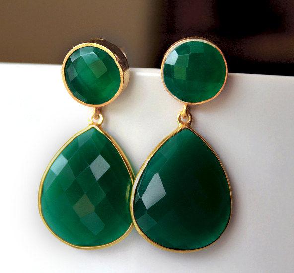 Green Onyx Double Drop Post Earrings Emerald Green