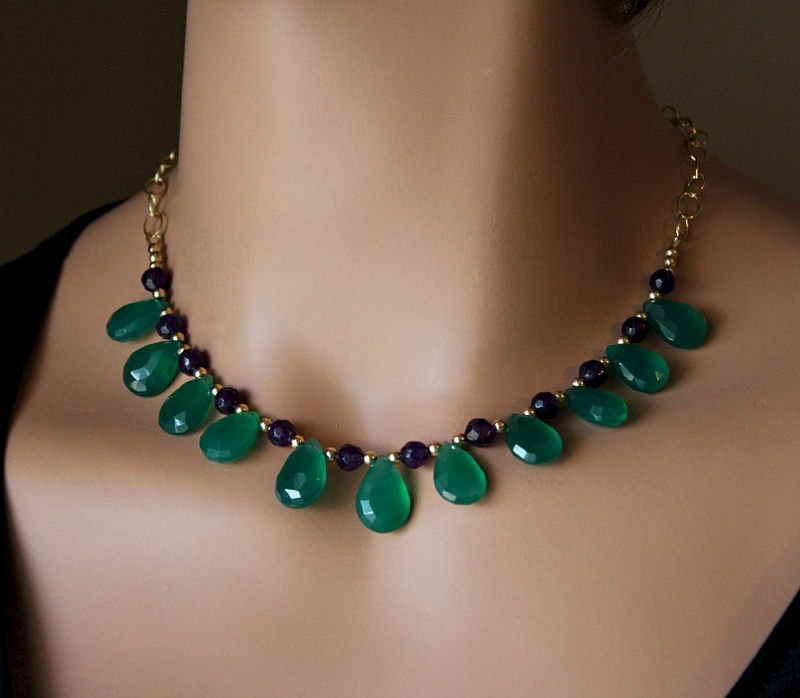 Green Onyx and Amethyst Necklace, Emerald Green, Green Gemstone, May Birthstone, 14k Gold filled ...