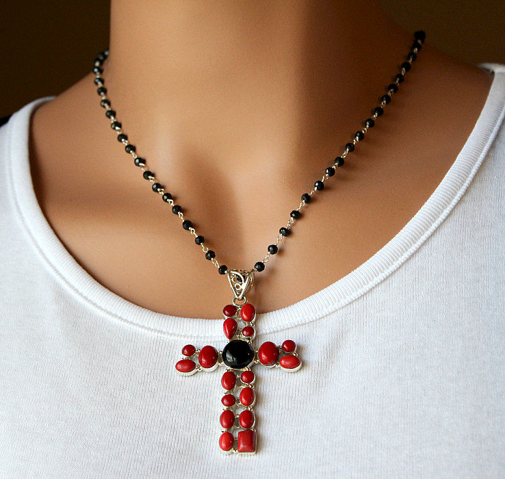 Huge Red Coral And Onyx Cross Pendant Necklace 925 Sterling Silver