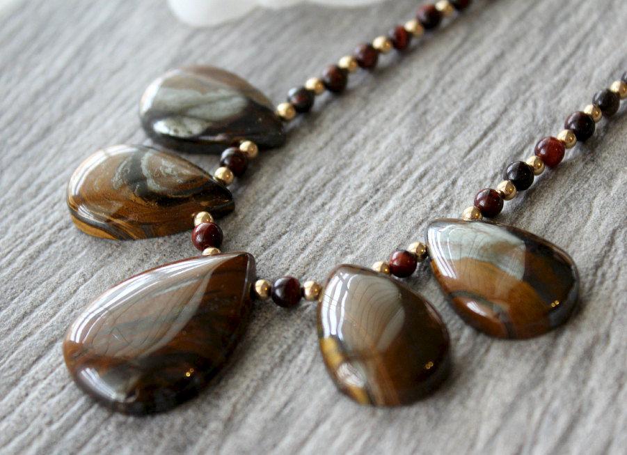 Tigers Eye Bib Necklace 14k Gold Filled Brown Stone Statement Beaded Fan Natural Stones Bygerene