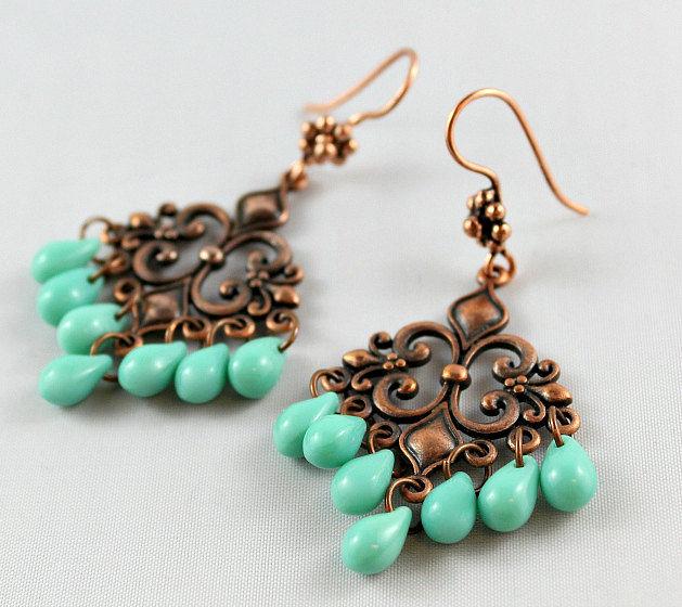 Turquoise copper chandelier earrings green turquoise czech glass turquoise copper chandelier earrings green turquoise czech glass bohemian fleur de lis mozeypictures Choice Image