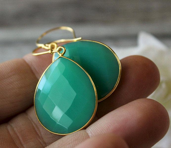 Medium Chrysoprase Green Chalcedony Drop Earrings Emerald Large Dangle