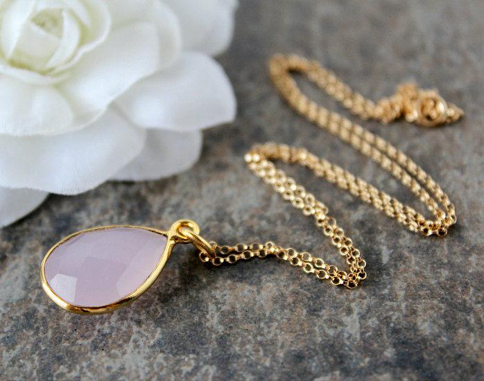 Rose quartz pendant necklace pink quartz gemstone gold vermeil rose quartz pendant necklace pink quartz gemstone gold vermeil 14k gold filled chain audiocablefo light ideas