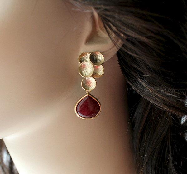 Wine Red Teardrop Dangle Earrings Burgundy Drop Earrings Matte