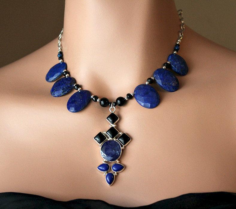Huge Lapis Lazuli And Black Onyx Bib Pendant Necklace 925