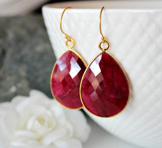Large Raspberry Ruby Earrings Red Drop Gemstone Dangle