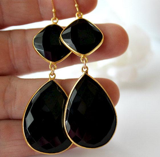 Black Onyx Double Drop Earrings Large Red Carpet Jewelry Jet Dual
