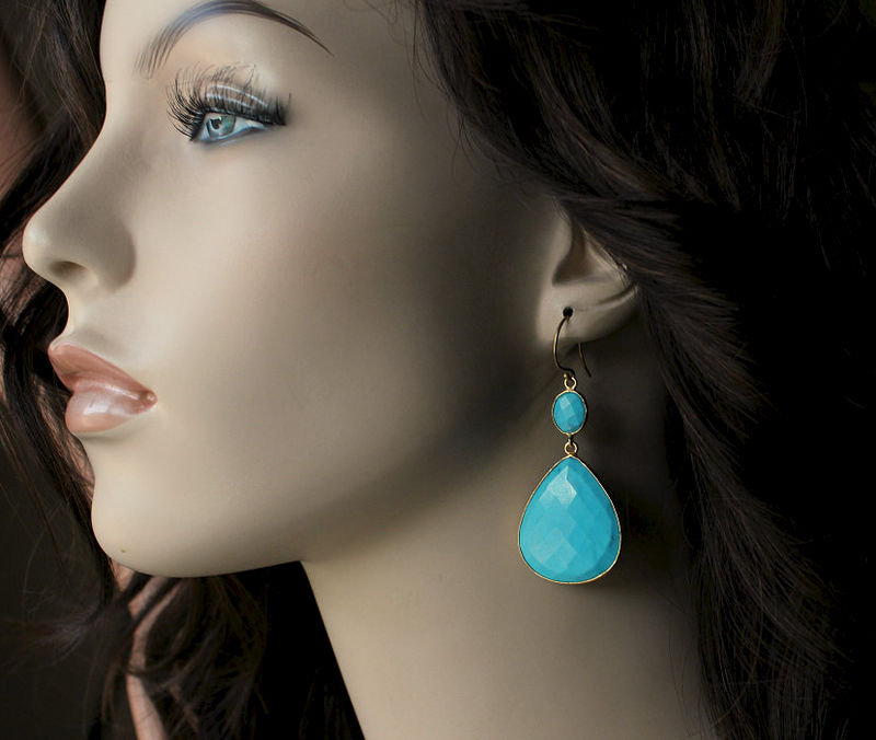 Turquoise Jewelry Large Blue Double Drop Earrings Genuine Stones