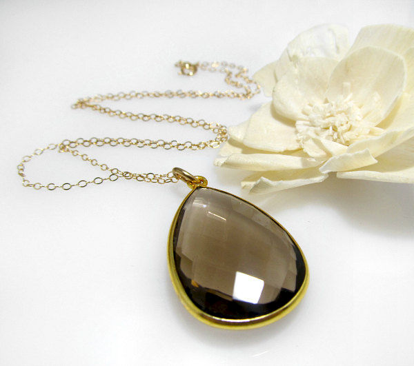 Large smokey quartz pendant necklace brown gemstone 14k gold large smokey quartz pendant necklace brown gemstone 14k gold filled large chocolate pendant mozeypictures Gallery