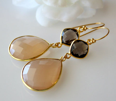 Long,Beige,Chalcedony,Double,Drop,Earrings,,Smokey,Quartz,,Nude,Gemstone,Gold,Vermeil,,Chamoise,,Sand,Jewelry,Earrings,Dangle,24k_gold_vermeil,genuine_gemstone,large_stones,beige_chalcedony,nude_gemstone,chamoise_earrings,nude_beige,large_beige_teardrop,sand_chalcedony,light_brown,double_drop_dangle,smokey_quartz,brown_and_beige,beige chalcedony,24k gold