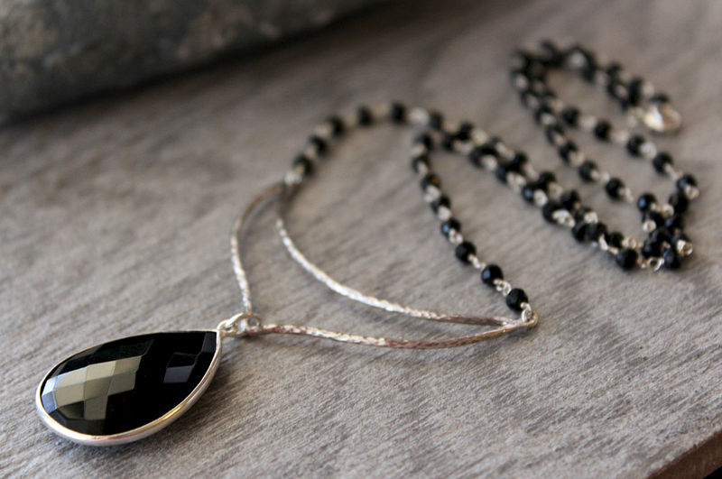 Chevron black onyx pendant necklace 925 sterling silver jet black chevron black onyx pendant necklace 925 sterling silver jet black black onyx rosary style aloadofball Image collections