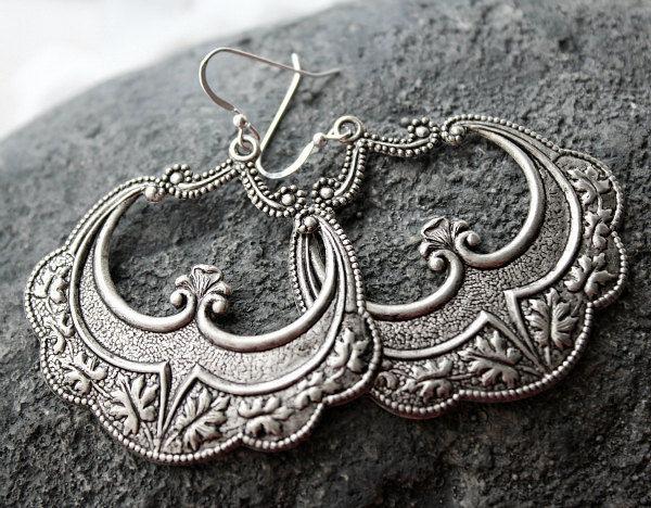 bohemian arabesque hoop earrings arabesque dangles morrocan earrings boho jewelry art deco. Black Bedroom Furniture Sets. Home Design Ideas