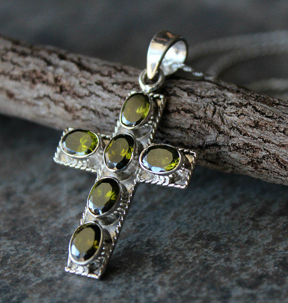 Green peridot cross pendant necklace 925 sterling silver large green peridot cross pendant necklace 925 sterling silver large green cross olivine gemstone mozeypictures Gallery