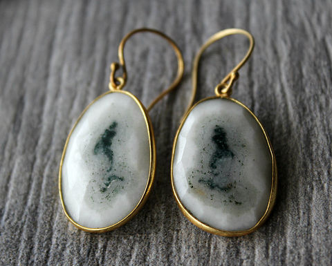 Large,Solar,Quartz,Gold,Drop,Earrings,,Natural,Stone,,Organic,,White,Quartz,,Druzy,Gemstones,,Teardrops,Jewelry,Earrings,gemstone_earrings,24k_gold_vermeil,gold_vermeil_dangle,bygerene,large_white_stones,large_white_teardrop,white_bezel,white_and_gold,white_drop_earrings,opaque_white,white_gemstone,white_solar_quartz,valentine_sale,24k Gold vermeil earwires