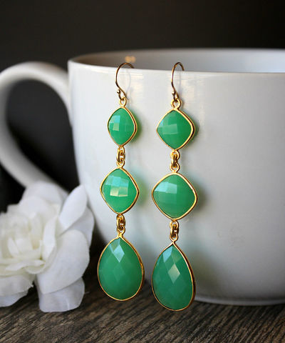 Long,Drop,Green,Chalcedony,Earrings,,3,tiers,,Cascade,,gold,filled,Jewelry,,Chrysoprase,Green,,Dangles,,Triple,drop,Jewelry,Earrings,3_tiers,three_tiers,long_dangle,triple_drop,cascade_earrings,chalcedony_jewelry,long_teardrop,pink_teardrops,bygerene,green_earrings,green_chroprase,green_drop_dangles,emerald_green,sterling silver,gold filled,gold plated,green chalcedony