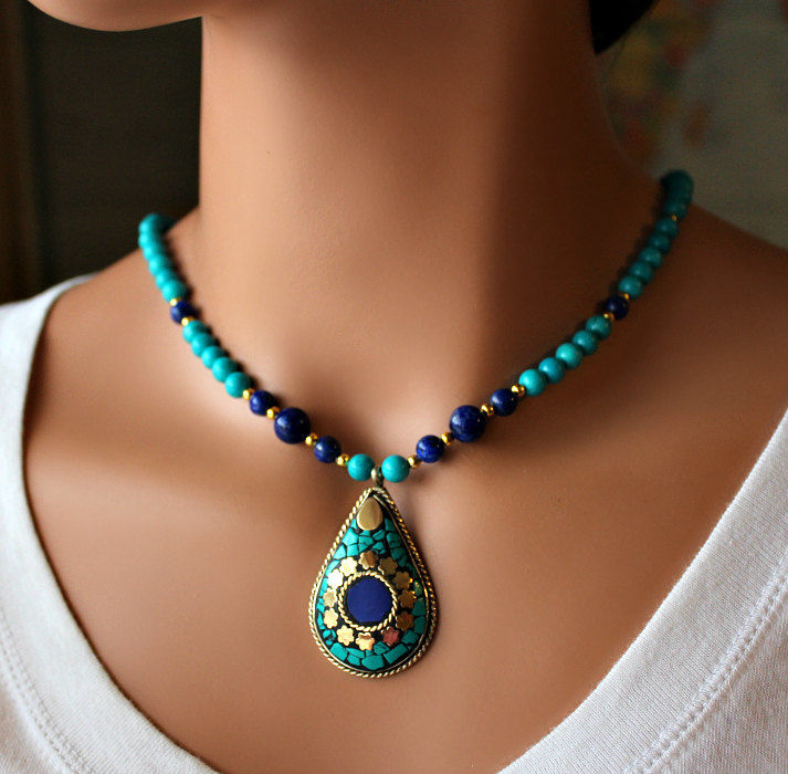 Lapis and Turquoise Statement Necklace Nepalese Lapis Lazuli
