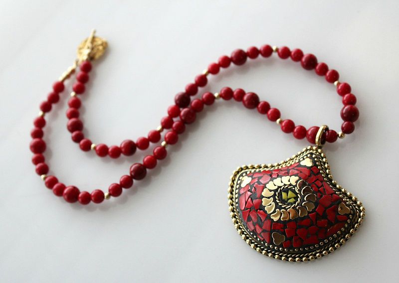 Statement Necklace Nepalese Red Coral Necklace Coral Gold Jewelry