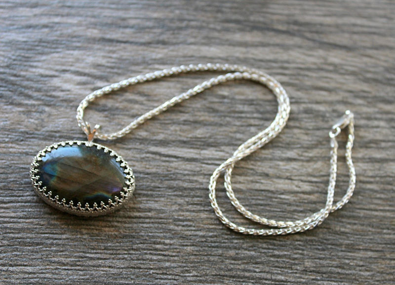 Large Spectrolite Flash Labradorite Pendant Necklace, 925 Sterling Silver, Statement Necklace, OOAK, Labradorite Jewelry, Oval Amulet - product images  of