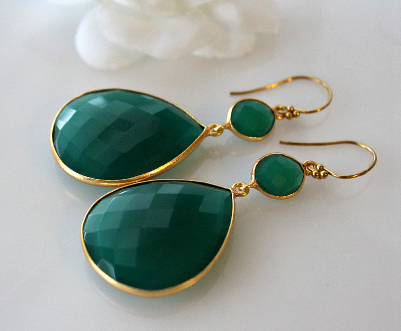 Extra Large Green Onyx Double Drop Earrings Dual Dangle Gold Vermeil