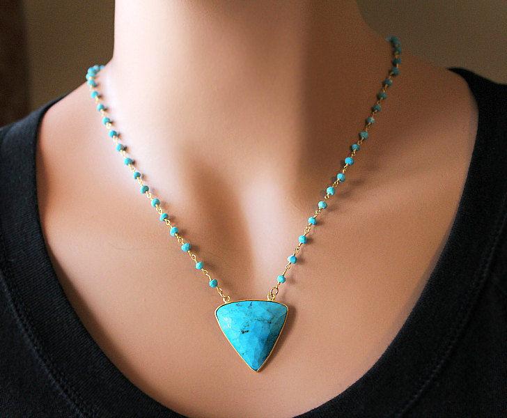 Blue Turquoise Rosary Necklace Blue Gemstone Rosary Style 24k