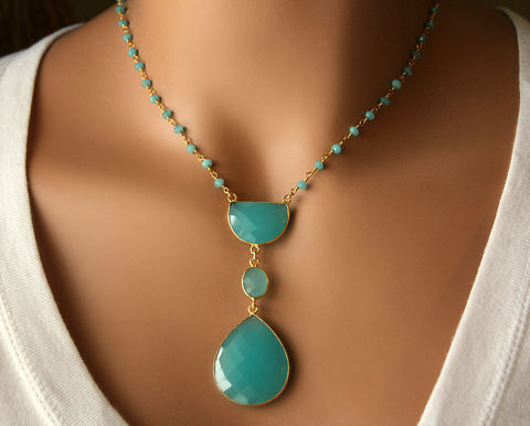 Long,Aqua,Chalcedony,Pendant,Necklace,,Blue,Green,,Bohemian,Pendant,,Statement,Style,Jewelry,Necklace,gold_vermeil,pendant_necklace,rosary_necklace,long__necklace,long_pendant,bohemian_style,bygerene,gypsy_style,blue_green,bohemian_pendant,statement_necklace,long_necklace,valentine_sale,gold filled,24k gold vermeil,Aqua Chalcedony