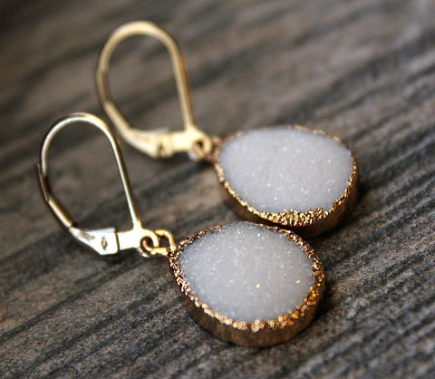 White,Druzy,Drop,Earrings,,Snow,Dangle,,Gold,Electroplated,,Large,Teardrops,,Natural,Druzy,,Crystal,Jewelry,Earrings,Gold_Vermeil,Natural_Druzy,Druzy_Jewelry,Drop_Earrings,bygerene,periwrinkle_blue,geode_earrings,white_druzy_drops,white_earrings,druzy_earrings,true_white,white_teardrops,white_gold_dangle,Gold electroplated,14k gold filled,white druzy