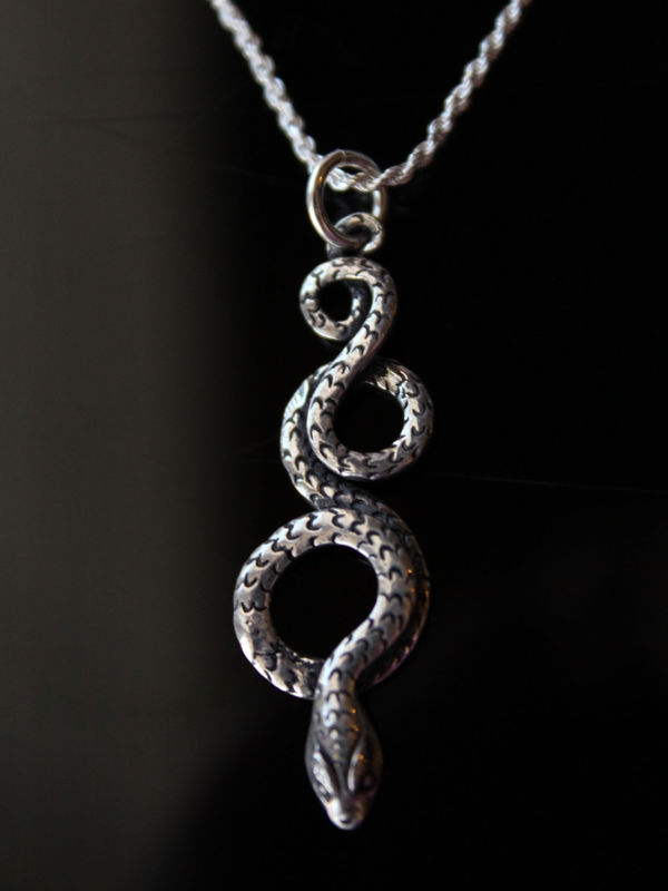 Coiled snake sterling silver pendant necklace oxidized sterling coiled snake sterling silver pendant necklace oxidized sterling silver curled snake jewelry large aloadofball Choice Image