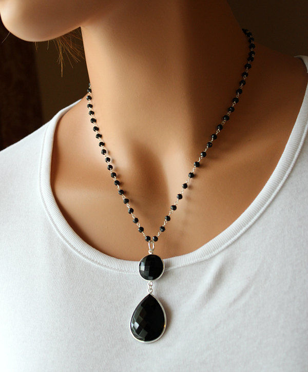 Black onyx pendant necklace 925 sterling silver jet black black black onyx pendant necklace 925 sterling silver jet black black onyx rosary style aloadofball Images