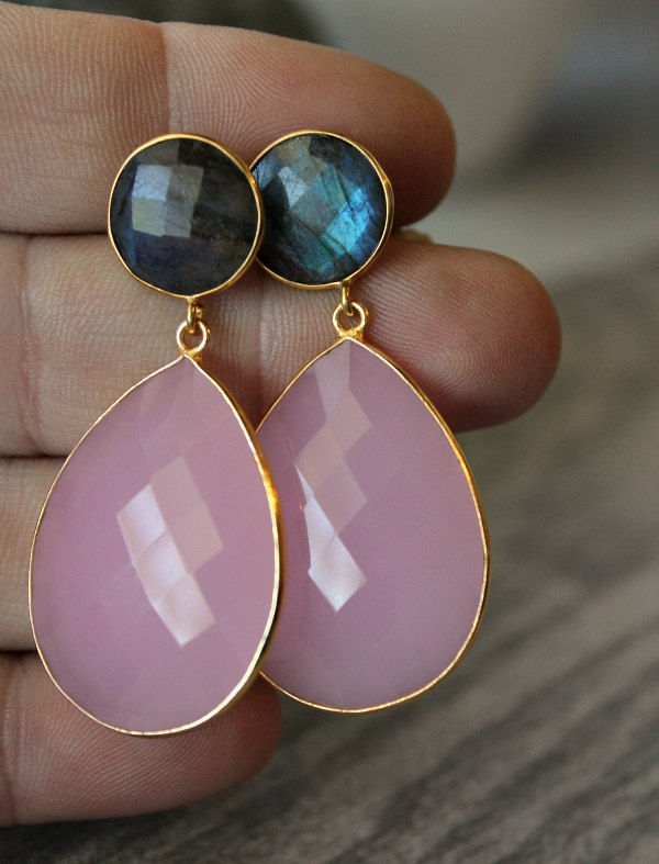 Large Double Drop Cashmere Rose Quartz and Flash Labradorite Earrings, Long Pink Earrings, Oversized Dual Drop, Stormy Weather Grey - product images  of