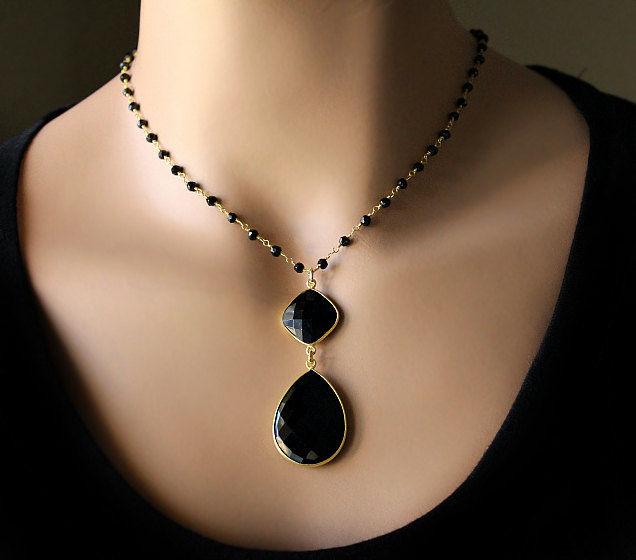 Rosary style black onyx pendant necklace jet black gemstone gold rosary style black onyx pendant necklace jet black gemstone gold vermeil black onyx aloadofball Images