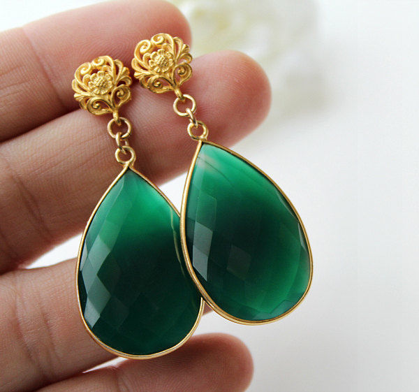 Fancy Green Onyx Teardrop Earrings Large Emerald Gold Vermeil Dark