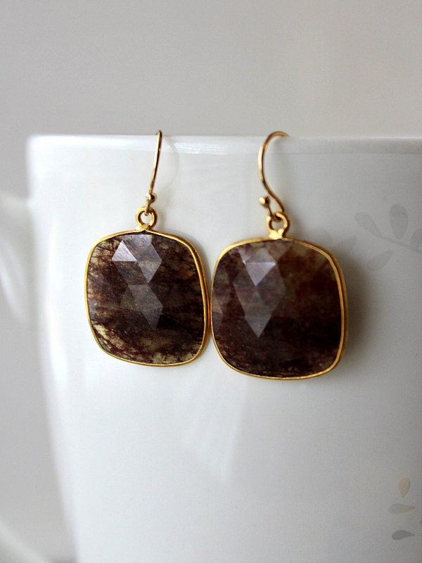 Large Red Rutilated Stone Drop Earrings Burgundy Quartz Dangle Reddish Brown Natural