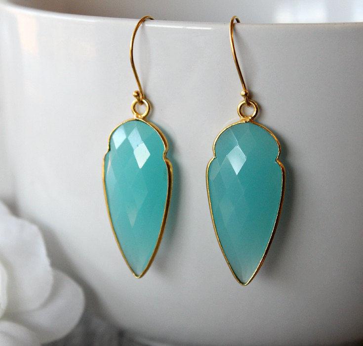 Aqua chalcedony arrowhead drop earrings light blue for Sparkles jewelry lakewood nj instagram