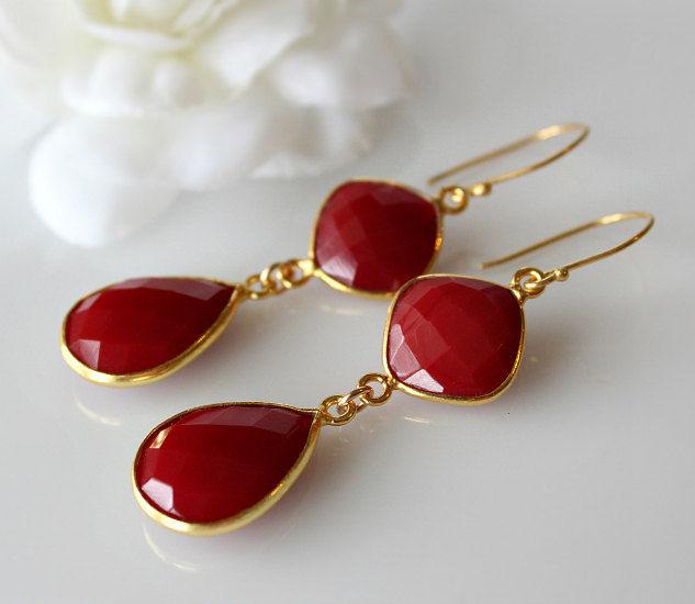 Red Onyx Double Drop Earrings Stone Bezel Gemstone Crimson Dangle Jewelry Bygerene