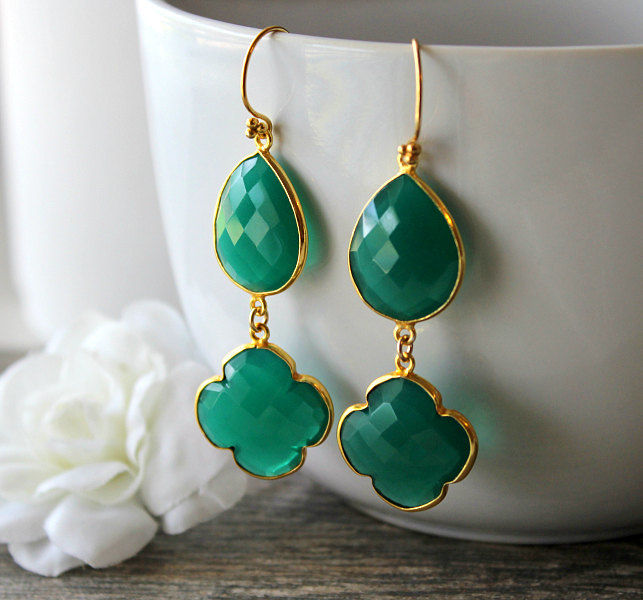 Double Hanging Gold Clover Turquoise Earring