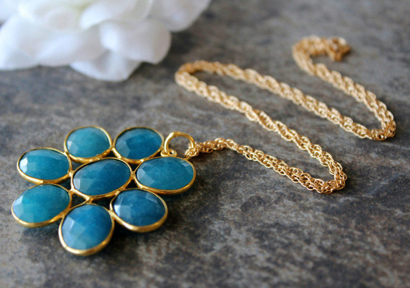 Large Blue Chalcedony Daisy Style Necklace, Statement Necklace, Apatite Blue Pendant, Gemstone Flower Pendant, Gold Vermeil - product images  of