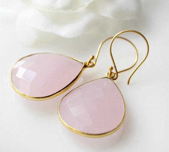 Pink Rose Quartz Drop Earrings Dangle Linen Gemstone Teardrops Light Bezel 24k Gold Vermeil Bygerene