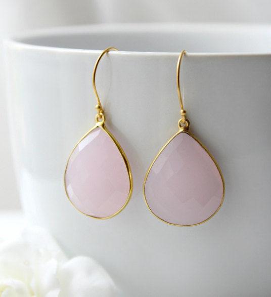 Pink Rose Quartz Drop Earrings Dangle Linen Gemstone Teardrops