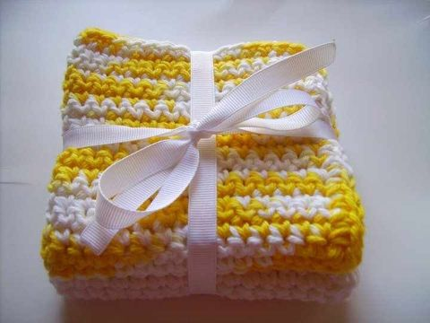 Crocheted,Wash,Cloths,Crochet,wash_cloth,bath,pink,yellow,white,blue,cleaning_rags,rags,baby,children,adult,acrylic_yarn,ribbon