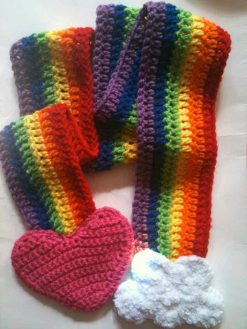 Rainbow,Scarf,Accessories,Crochet,scarf,red,orange,yellow,green,blue,purple,heart,clouds,adult,warm,winter,girls,Acrylic_yarn,cloud_yarn