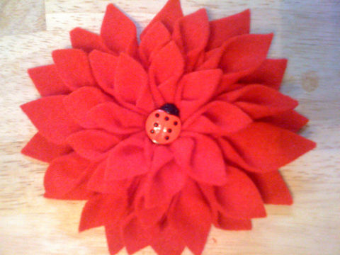 Fabric,Flowers,accessories,hair,headband,barrette,flower,girls,children,toddler,pink,red,yellow,ladybug,beads,adult,fleece,felt,thread,center_piece