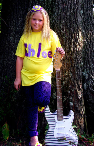 T-shirt,with,Crocheted,Name,Matching,Headband,,Purse,and,Flip,Flops,Clothing,Shirt,flip_flops,purse,headband,girl,children,outfit,purple,yellow,flower,onesie,birthday_gift,white,guitar,shirt,acrylic_yarn,button,thread