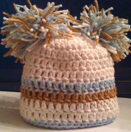 Crocheted,White,Hat,with,a,Brown,and,Blue,Stripe,crochet,hat,beanie,white,blue,brown,pom_poms,photo_prop,children,kids,newborn,baby,handmade,boy,acrylic_yarn