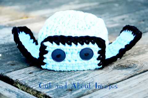 Newborn,,Infant,Aviator,Hat,Crochet,infant,toddler,adult,aviator,photo_prop,baby_shower_gift,girl,boy,ear_flaps,blue,black,buttons,soft_chunky_yarn