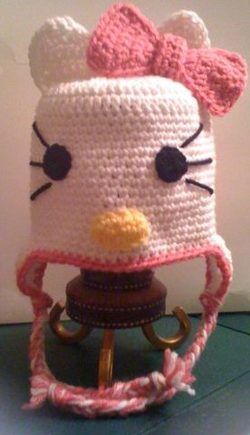 Crocheted,Hello,Kitty,Hat,with,Earflaps,crochet,hello_kitty,pink,earflaps,cat,kitty,kitten,hello_kitty_hat,hello_kitty_beanie,animal_hat,newborn,acrylic_yarn
