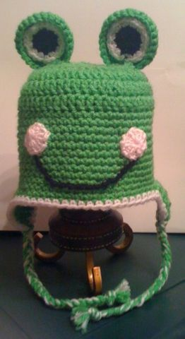 Crocheted,Frog,Hat,crochet,frog,green,hat,smile,beanie,ear_flaps,tadpole,boy,girl,children,unisex,acrylic_yarn