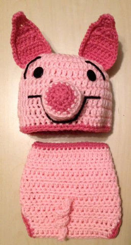 Piglet,Hat,and,Diaper,Cover,Set,Crochet,Clothing,Girl,pink,piglet,Winnie_the_Pooh,infant,girl,baby,Halloween,pig,photo_prop,baby_shower,costume,child,newborn,acrylic yarn,button