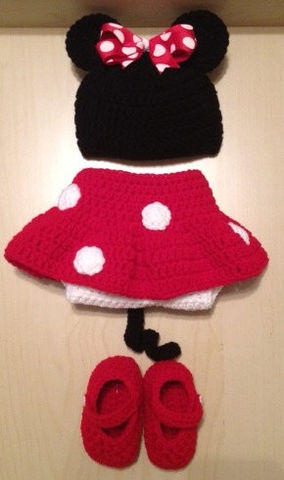 Minnie,Mouse,Crocheted,Set,Crochet,Clothing,minnie_mouse,red,white,infant,girl,hat,bow,skirt,diaper_cover,shoes,photography_prop,disney,mouse,acrylic yarn,ribbon,button