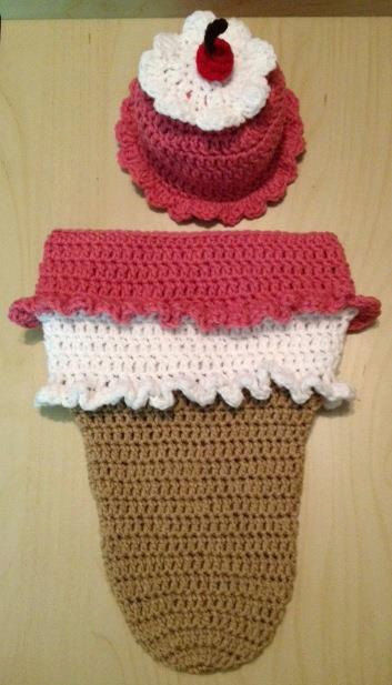 Crocheted Ice Cream Cone/Sundae Cocoon with matching Hat - product images  of