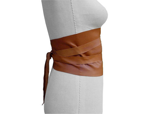Wide corset belt, saddle tan - product images  of
